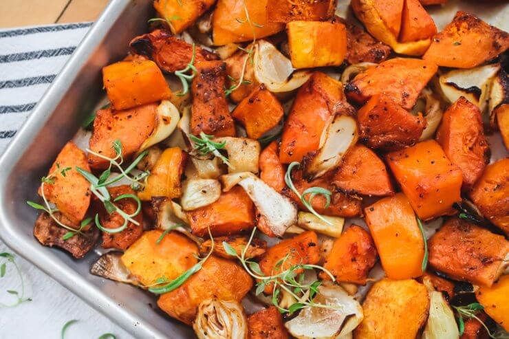 Vegetarian Pan Roasted Butternut Squash and Onions over Rice