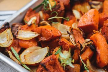 Vegetarian Pan-Roasted Butternut Squash and Onions with Rice