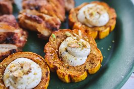 Roasted Delicata Squash with Honey-Garlic Goat Cheese and Toasted Squash Seeds