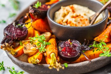 Cold Roasted Vegetables and Warm Hummus