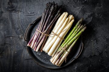 Purple, white, and green asparagus